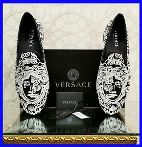NEW VERSACE BLACK and WHITE EMBROIDERY LOAFER SHOES 44 - 11