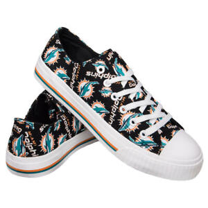 Miami Dolphins NFL Women's Low Top Repeat Print Canvas Shoes, Size 8 - NIB