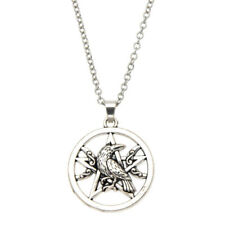 Silver Pentagram Pendant Viking Raven Necklace Sacred Vintage Women Men Jewelry