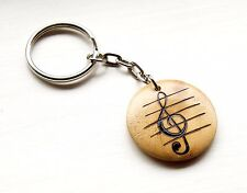 Treble Clef Keyring Keychain Wooden Music Lovers Gift Music Teacher Pyrography