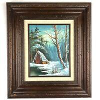 Phillip Cantrell Original Framed Oil on Canvas Winter Scene Painting 1960's