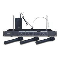 IBIZA VHF4 WIRELESS VHF QUAD CHANNEL HANDHELD & HEADSET RADIO MICROPHONE SYSTEM