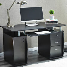 Deluxe Computer Desk With Cabinet and 3 Drawers for Home Office PC Table Black