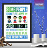 Personalised FATHER'S DAY superhero print gift/DADDY/DAD/GRANDPA keepsake A4/A3