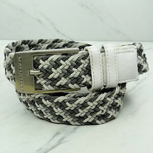 Under Armour White Gray Braided Woven Stretch Belt Size 40