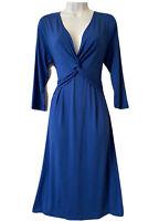 NoLoGo Chic Women's UK 10 2 Tea Dress Blue Jersey Twist Front Work Party Elegant