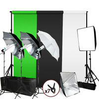 Photography Photo Studio Lighting Kit Umbrella Softbox Muslin Backdrop Stand Set