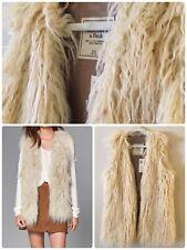 NWT Abercrombie Fitch Faux Fur Vest Size XS Cream
