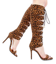 New leopard cheetah lace up strappy gladiator Knee High heel open toe Sandal  7