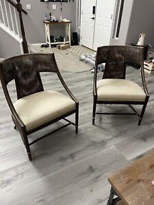 McGuire Furniture Classic Curve Arm Chair Barbara Bamboo Rattan Cane Midcentury