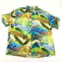 Jams World Hawaiian Button Down Shirt Mens XL Multicolor Aloha Rayon Made in USA