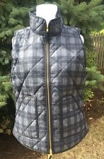 J.CREW S NEW Excursion Vest Plaid  Quilted Down Polly Puffer NWT