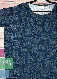 NWT Lularoe Size Large Navy w Digital Tiger Heads Women's Irma Shirt Top