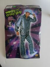 DISCO 70's Wacky Wild Crazy GUY COSTUME Up to Chest 42 NEW Shirt Pants Hat 3pc