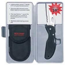 Maxam Pro Series 420 Stainless Steel Blade Lockback Knife With Leymar Handle