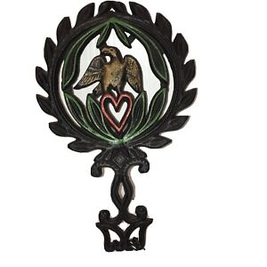 Vintage   Cast Iron Trivet w/ Painted Highlights  Eagle and Heart