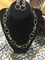 """20-22"""" Technibond Circle Link Chain Necklace and Earrings Gold Over 925 Silver"""