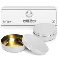 16oz White Candle Tins with Lids Metal Jar for Candles & Candle Making Supplies
