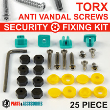 25x NUMBER PLATE CAR Motorcycle FIXING SECURITY SCREWS & CAPS HINGED PLASTIC KIT