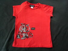 KOOKAI? fille t-shirt stretch chemisier? 7 - 8 ans? taille 128? rouge avec tiger
