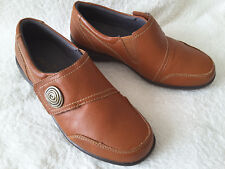 Brevitt Tan Leather Touch and Close Flat Shoes Size 4 E Fitting BRAND NEW
