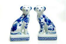 EXTREMELY RARE ANTIQUE CLIGNANCOURT PORCELAIN BLUE AND WHITE DOG FIGURINE...