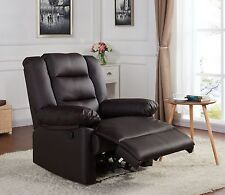 Real Leather Bonded Recliner Lounge Chair Brown Black Luxury Living Reclining
