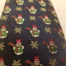 """Men's Snowman Neck Tie 100% Silk IZOD Snowflakes Dark Blue 58"""""""