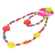 1 Set Charm Kids Jewelry Cute Multicolor Flower Wood Beads Necklace Bracelet Set