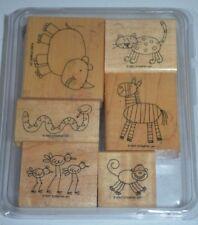 Stampin up Zoofari Stamp Set of 6 Zoo Zebra Monkey Rhino Leopard Snake Bird