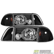 Black 1987-1993 Ford Mustang Headlights w/Corner Signal Lights Parking Lamps Set