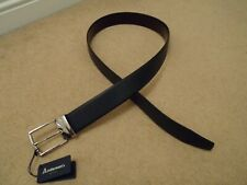 ANDERSONS ITALY REVERSIBLE BROWN & NAVY BLUE LEATHER BELT SILVER BUCKLE HANDMADE