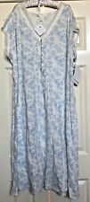 EILEEN WEST BLUE FLORAL FLOWERS PLUS SIZE NIGHTGOWN GOWN 3XL NWT NEW