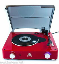 Retro Vinyl Turntable Record Player Led 3 Speed Speakers Lid Audio Music RED