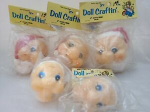 "Lot of 5 Vtg Doll Craftin' Mangelsen's Santa Head 4"" & Grams w/ Red Bow 3.25"""
