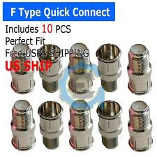 10 Pack F-type Quick Push-On Adapter Male-Female Coaxial Cable Connector