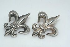 Vintage Fleur De Lis Sterling Silver Screw Back Earrings