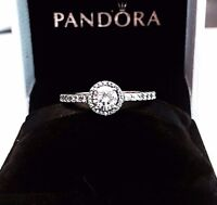 Authentic PANDORA CLASSIC ELEGANCE Ring W/ Pandora TAG &  HINGED BOX #190946CZ