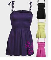 "Ladies Womens ""Cache Cache"" Cami Stretch Fabric Shirred Self-tie Straps Top"