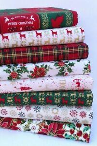 CHRISTMAS COTTON FABRIC LAYER CAKE BUNDLE RED & CREAM HOLLY DOVE REINDEER TARTAN