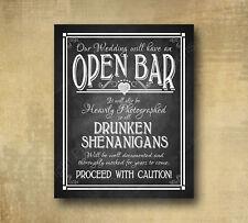 Rustic Wedding Chalkboard Looking 8x10 Print -  Open Bar Drunken Shenanigans