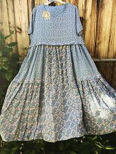 Shabby MAGNOLIA flower DRESS pearl buttons VICTORIAN Blue Prairie XL - 1X - 2X