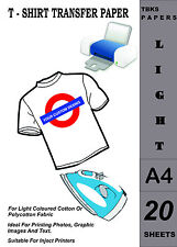20 x A4 Inkjet T-Shirt Transfer Paper For Light Fabrics Free P&P