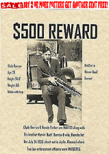 BONNIE AND CLYDE BARROW PARKER WANTED POSTER BANK ROBBER GANGSTER FBI POLICE