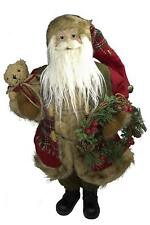 """RAZ Imports 19"""" Traditional Holiday Santa Claus Figure with Bear and Wreath"""