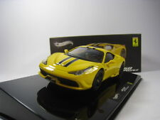 FERRARI 458 SPECIALE 1/43 HOTWHEELS ELITE (YELLOW/BLACK STRIPES)