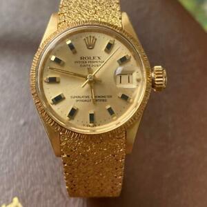 ROLEX DATEJUST 6527 LADY PRESIDENT BARK BEZEL 18KT YELLOW GOLD VINTAGE WATCH