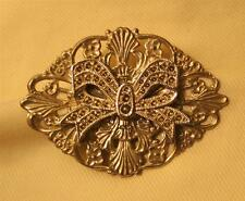 Dainty Swirl Festoon Shells Oval Vintage Faux Marcasite Silvertn Bow Brooch Pin