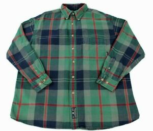 Timberland Button Up Long Sleeve Plaid Size Large Green