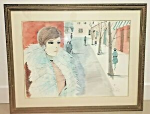 Charles Levier Famous French Artist Beautiful Woman Watercolor Mid Century Look!